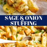 two pictures of traditional stuffing with text in the middle