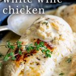 Pin image Chicken in white wine with text at the top