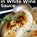 Pin image Chicken in white wine with text at top