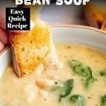 bread dipping into bean soup with text at the top