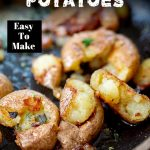 close up on fried potatoes with text at the top