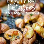 crispy fried potatoes with text at the top
