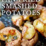 super close up on fried potatoes with text at the top