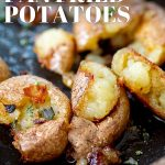 close up on fried crispy potatoes with text at the top and bottom