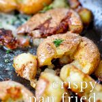 close up on fried skillet potatoes with text at the bottom