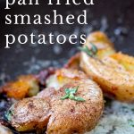 close up on a fried baby potatoes with text at the top