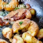 close up on fried baby potatoes with text at the top