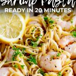 shrimp on a bed of pasta with lemon zest and parley, with text at the top