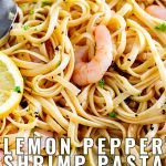 shrimp pasta with a buttery sauce and text at the bottom