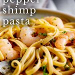 close up on the lemon shrimp pasta with text at the top