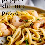shrimp on a bed of pasta with lemon zest and text at the top