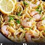 shrimp on a bed of pasta with lemon zest and text at the bottom
