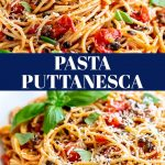 two pictures of pasta puttanesca with text in the middle
