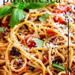 close up on pasta puttanesca with text at the top