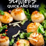 Cast iron pan filled with seared Thai scallops with text at the top