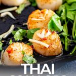 cast iron pan of seared Thai scallop with text at the bottom