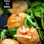 close up on a seared Thai scallops with text at the top