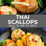 two pictures of Thai scallops in a pan with text in the middle