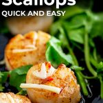 close up on a seared Thai scallop with text at the top