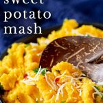 a wooden spoon in a bowl of Thai sweet potato mash with text at the top
