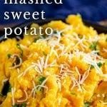 close up of sweet potato mash with shredded coconut on top with text at the top