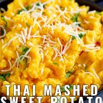 close up of sweet potato mash with shredded coconut on top with text at the bottom