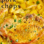 a curried pork chop with text at the top