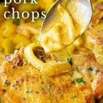 spooning curry sauce over a pork chop with text at the top