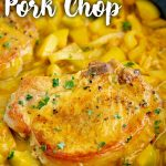 a curried pork chop with text at the top and bottom