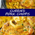 two pictures of curried pork chops with text in the middle