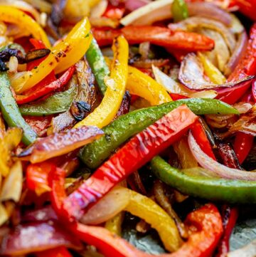 close up of the charred fajita vegetables