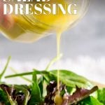 pin image of salad dressing and salad leaves