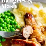 pin image showing sausages and mashed potato with gravy and text overlayed