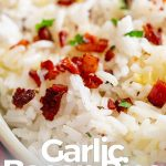 PIN IMAGE - Rice with bacon on top with text at the bottom