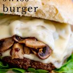 PIN image - Mushroom Swiss Burger with text overlayed