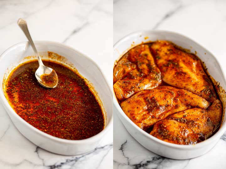 split picture -chicken breasts in a red marinade in an oval dish