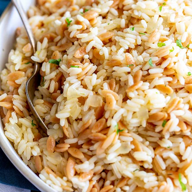 Turkish Rice Pilaf With Orzo Sprinkles And Sprouts