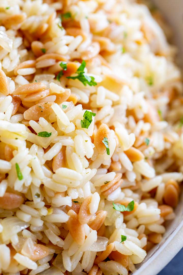 close up on the fluffy rice and nutty orzo pilaf