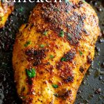 PIN IMAGE - a cooked Turkish chicken breast with text overlay