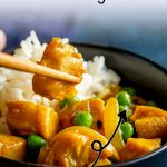 PIN IMAGE: Chinese chicken curry with rice and peas with text at the top