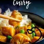 PIN IMAGE: chopsticks picking up Chinese chicken curry with text at the top