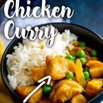 PIN IMAGE: Chinese chicken curry with peas in a black bowl with text at the top