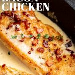 PIN IMAGE: A chicken breast with bacon on top. text covered layer at top and bottom