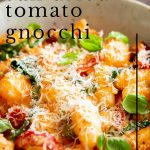 creamy tomato gnocchi with text overlaid