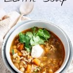 PIN IMAGE - rustic bowl of lentil soup with text overlay
