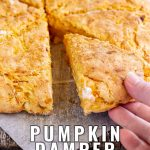 PIN IMAGE a hand picking up a slice of pumpkin bread with text at the bottom