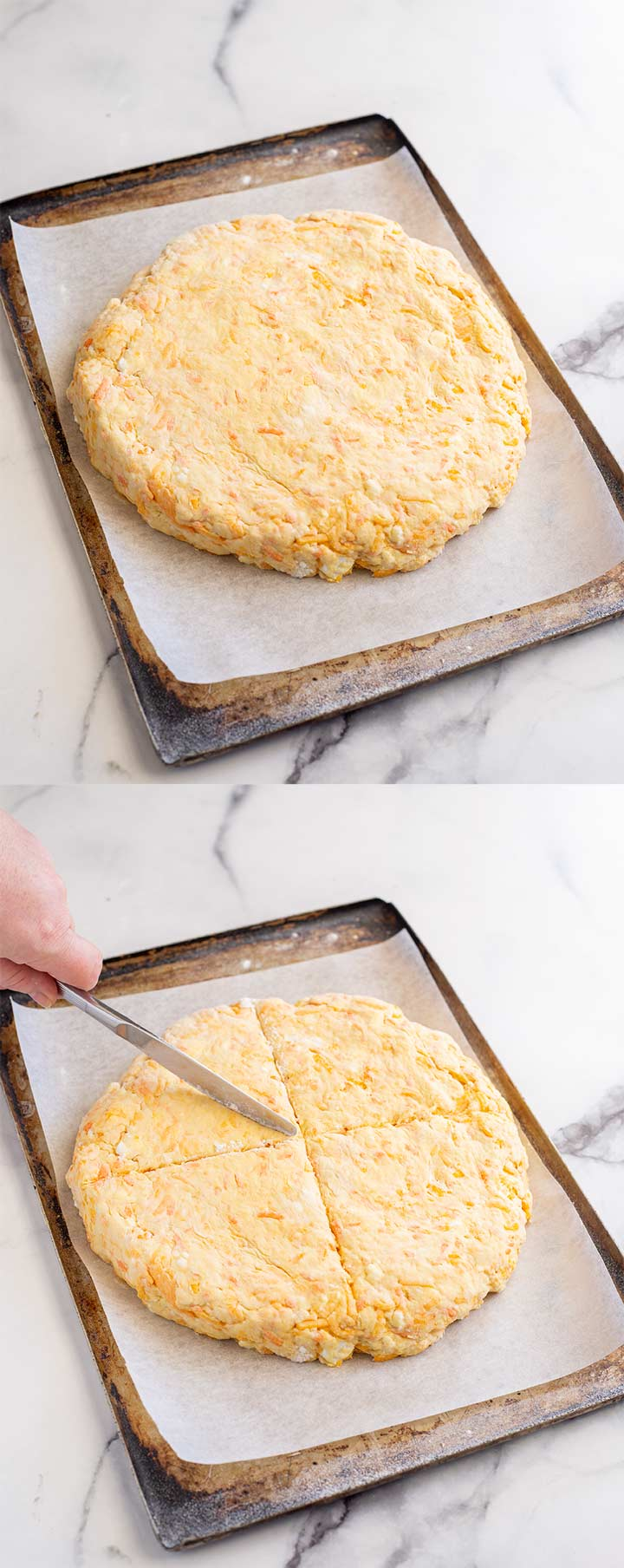 two pictures showing how to form the quick bread before baking
