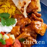 PIN IMAGE - Chicken Rogan Josh on a blue plate with text overlay