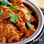 PIN IMAGE - Chicken Rogan Josh in a bowl with text overlay