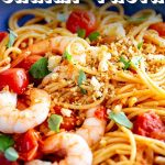 PIN IMAGE - Shrimp Pasta in a blue bowl with text overlay